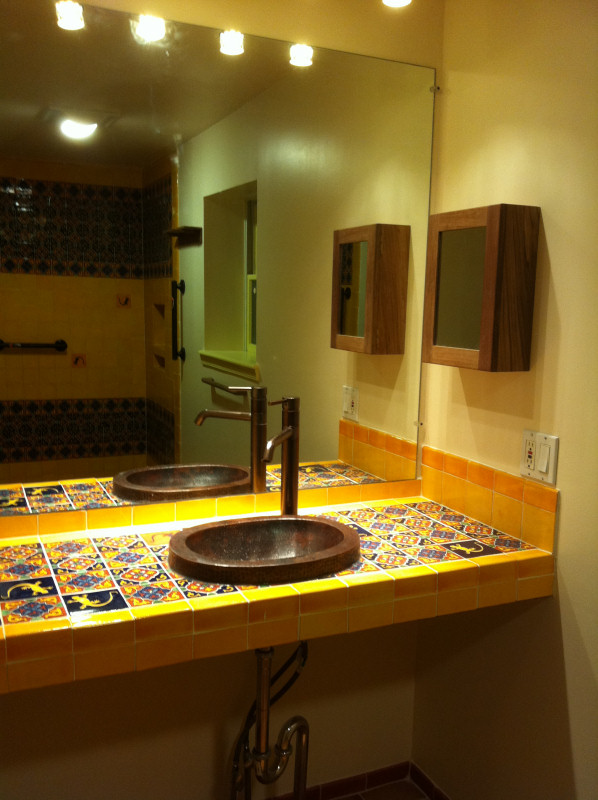Bathroom Copper Sink On A Mexican Tile Vanity Top, Mexican