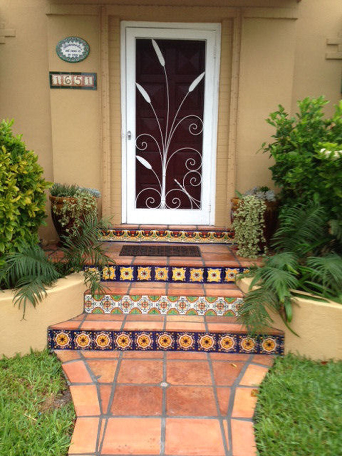 Welcome Home Plaque And Saltillo Floor Tile Along Talavera
