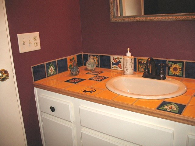 mexican tile vanity top accents and backsplash  Mexican Bathroom Sinks 34  Bathroom With High Ceiling. Mexican Bathroom Vanity