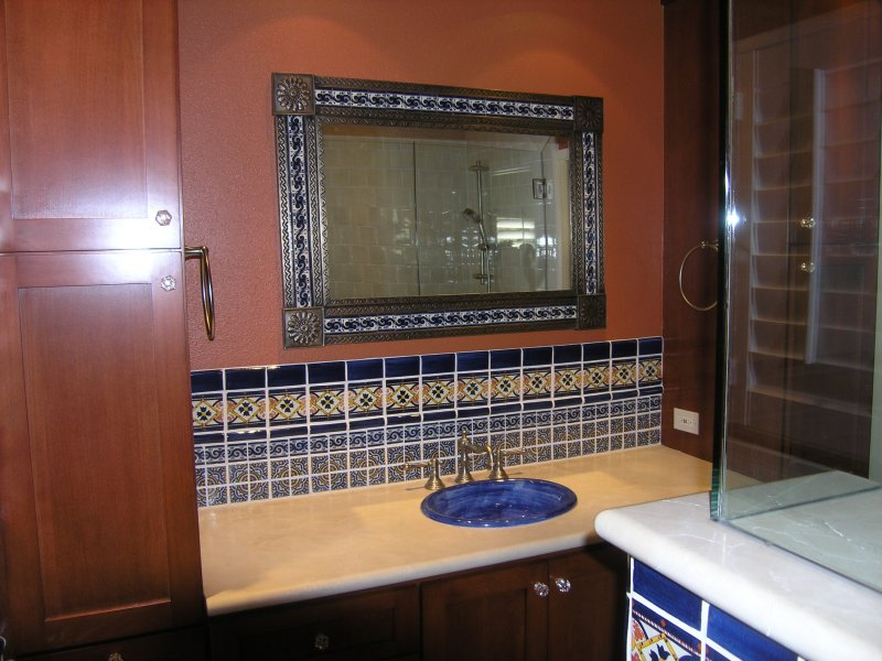 Mexican Tile Complementing A Tin Mirror Home Decor Projects Gallery