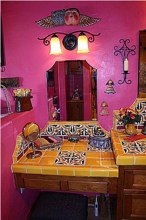 Small vanity showing mexican tile mexican home decor - Mexican home decor ideas ...