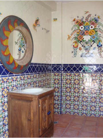 Bathroom Using Mexican Tile And A Mexican Mural Mexican