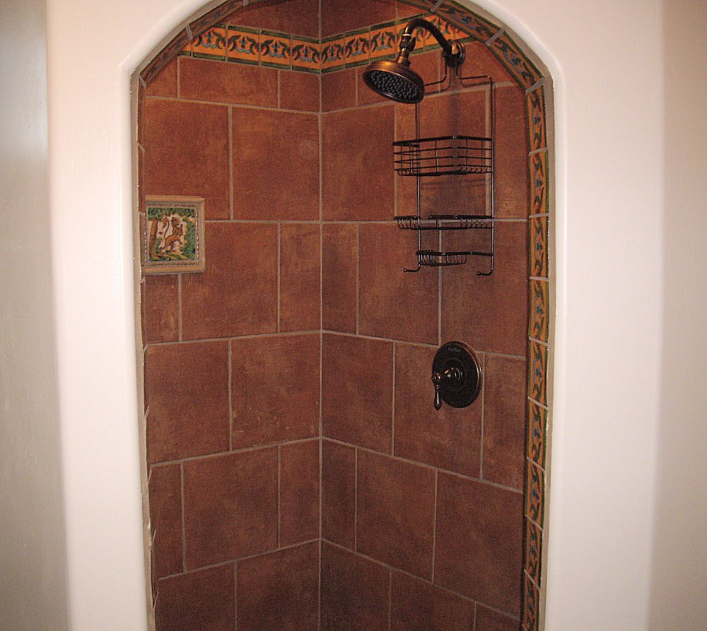Bathroom Design Mexican Tile : Liz talavera tile as a border in bathroom mexican home