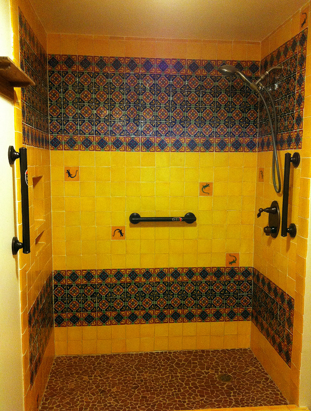 Yellow And Granada Mexican Tile In The Shower Mexican
