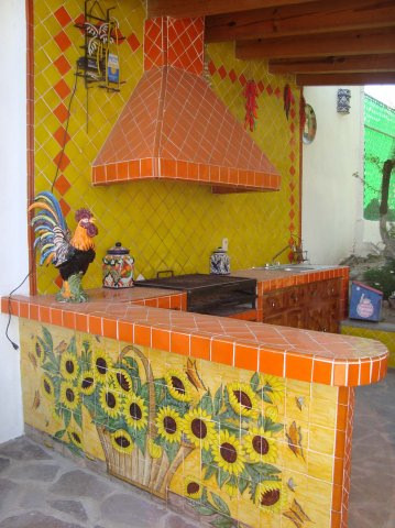 Mexican Tile In Bbq Area Showing A Rangehood Mexican Home Decor Projects Gallery