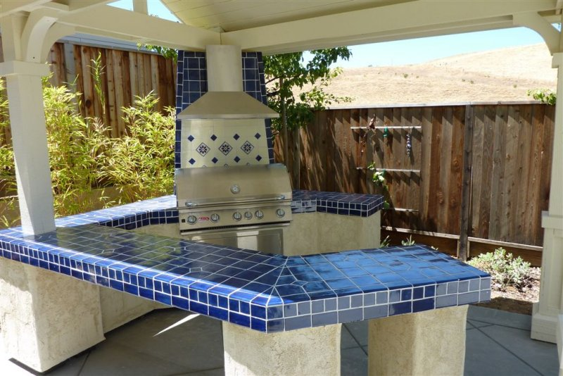 Cobalt Blue Mexican Talavera Tile On A BBQ Countertop, Mexican Home on diy outdoor kitchen ideas, mexican tile outdoor patio ideas, outdoor bar top ideas, kitchen tile backsplash ideas, tile countertops for bar top ideas, small outdoor kitchen ideas, outdoor bar on-deck ideas, outdoor bar countertop ideas, kitchen floor tile ideas,