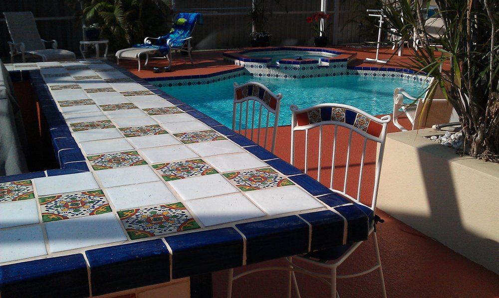 Mexican pool tile tile design ideas for Pool area decor