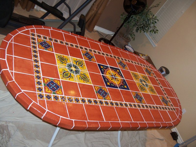 Attractive Terracota And Decorative Tiles In Table Top, Mexican Home Decor Projects  Gallery