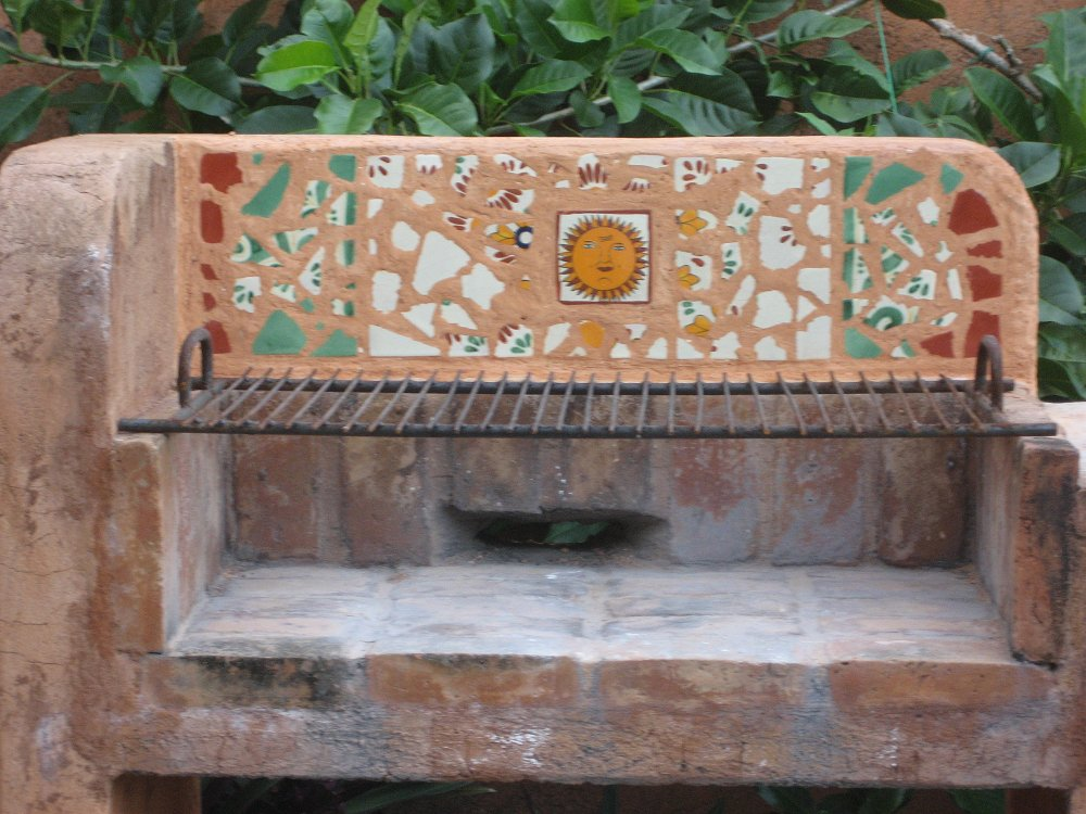 Mexican Tile Mosaic In An Outdoors Fireplace Home Decor Projects Gallery