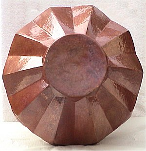 Arts & Crafts Diamond Copper Vase Close-Up