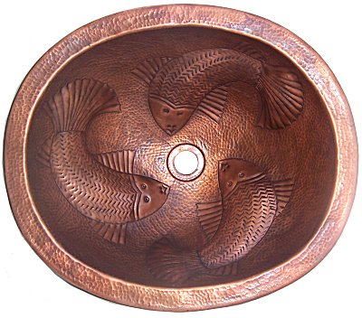 Embossed Fish Hammered Oval Bathroom Copper Sink