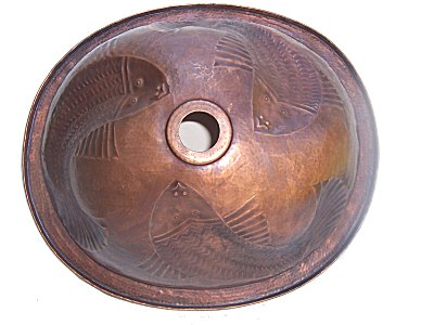 Embossed Fish Hammered Oval Bathroom Copper Sink Details