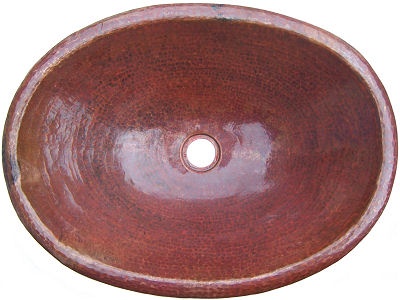 Natural Hammered Oval Bathroom Copper Sink
