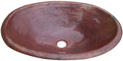Natural Hammered Oval Bathroom Copper Sink Close-Up
