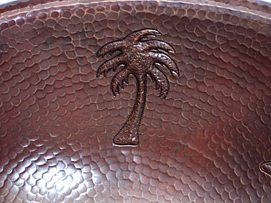 Hammered Oval Palm Trees Bathroom Copper Sink Close-Up