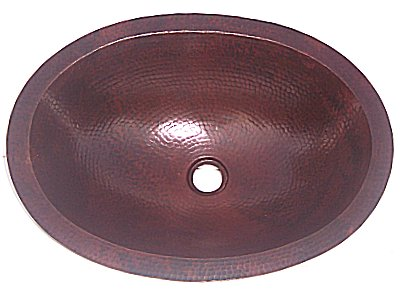 Undermount Hammered Oval Bathroom Copper Sink II