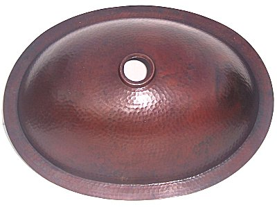 Undermount Hammered Oval Bathroom Copper Sink II Details