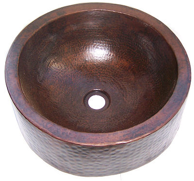 Hammered Round Apron Bathroom Copper Sink