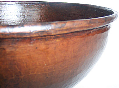 Weathered Hammered Round Bathroom Copper Vessel II Details