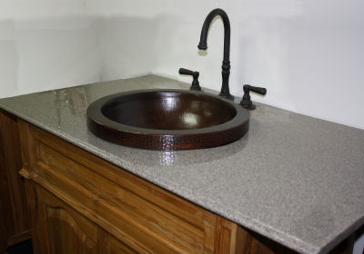 Apron Round Hammered Bathroom Copper Sink Details