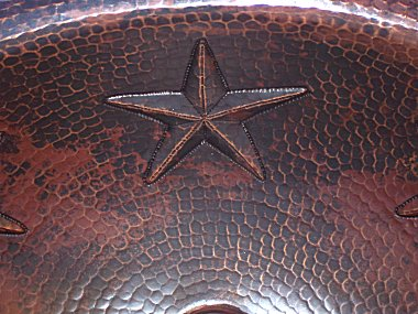 Hammered Oval Stars Bathroom Copper Sink Close-Up