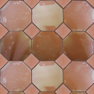 octagon clay saltillo tile closeup