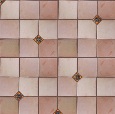Square 12 Clay Saltillo Tile Close-Up
