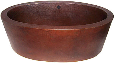 Double Wall Oval Hammered Copper Bath Tub