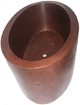 Double Wall Oval Hammered Copper Bath Tub Details
