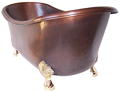 Clawfoot copper bath tub for Copper claw foot tub