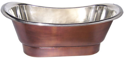 Nickel Plated Smooth Copper Bath Tub Close-Up