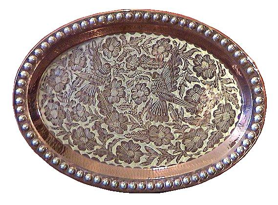 Folk Art Oval Silver & Copper Tray