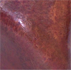 Medium Triangular Twisted Hammered Copper Vase Close-Up