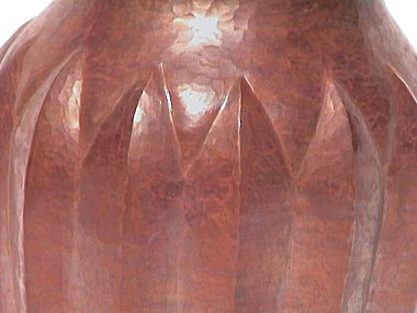 Hammered Round Pronged Copper Vase Close-Up