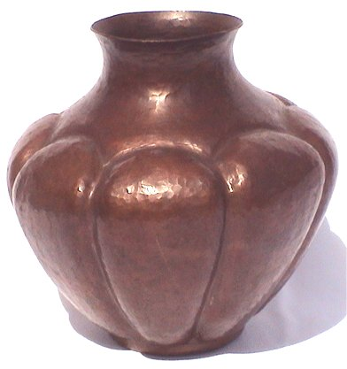 Hammered Arts & Crafts Pumpkin Copper Vase