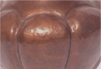 Hammered Arts & Crafts Pumpkin Copper Vase Close-Up
