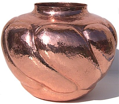 Arts & Crafts Twisted Polished Copper Vase