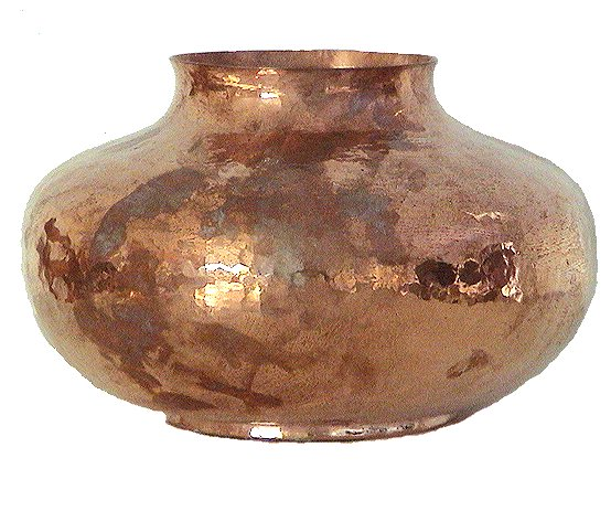 Folk Art Polished Flat Copper Vase