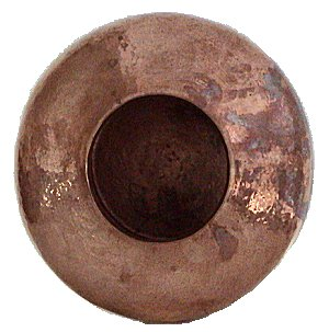 Folk Art Polished Flat Copper Vase Details