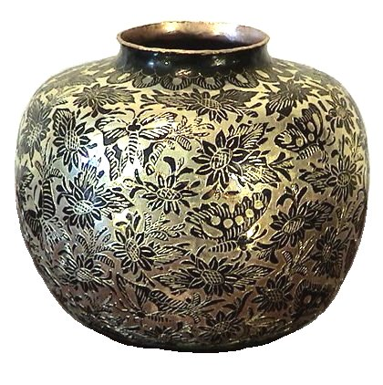 folk art small neck round silver copper vase. Black Bedroom Furniture Sets. Home Design Ideas