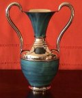 Folk Art Turquoise/Patina Copper Pitcher