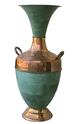 Folk Art Two-Handle Turquoise Big Copper Vase