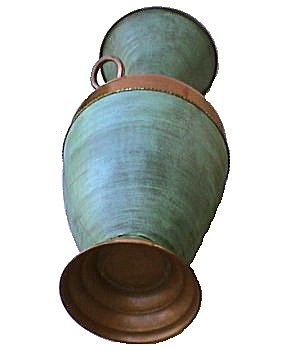 Folk Art Two-Handle Turquoise Big Copper Vase Details
