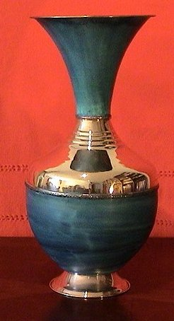 Turquoise Patina/Polished Copper Vase