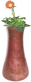 Flat Tall Hammered Copper Vase