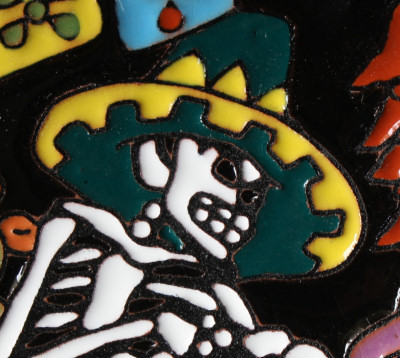 Under The Nopal. Day-Of-The-Dead Clay Tile Close-Up