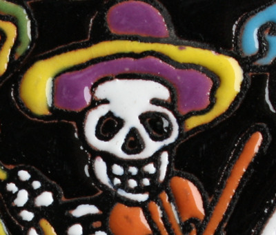 The Mariachi. Day-Of-The-Dead Clay Tile Close-Up