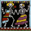 Dancing. Day-Of-The-Dead Clay Tile
