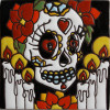 La Catrina Fortune Teller. Day-Of-The-Dead Clay Tile