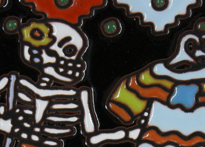Shopping. Day-Of-The-Dead Clay Tile Close-Up